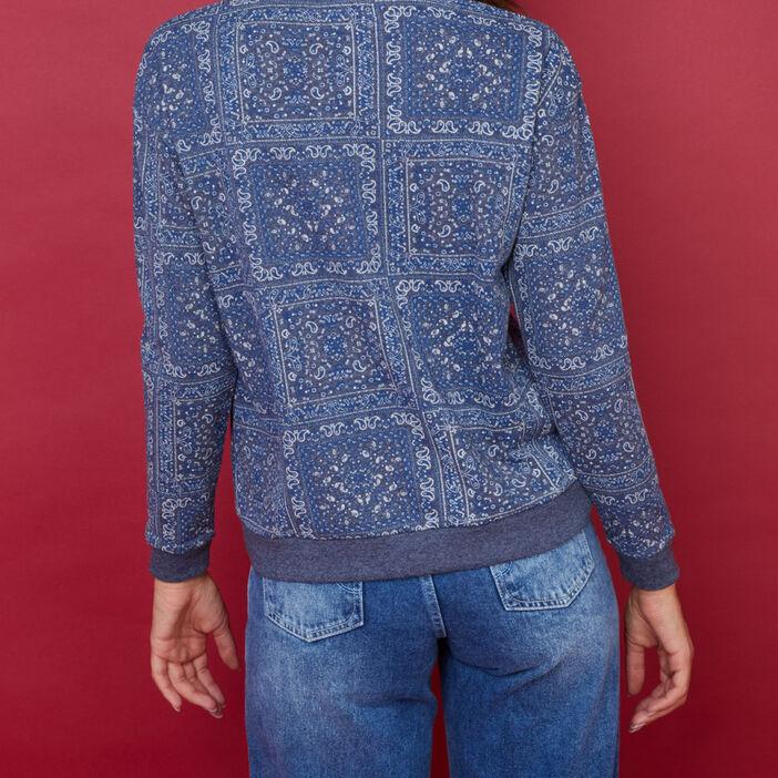 Sweatshirt esprit patchwork femme bleu marine
