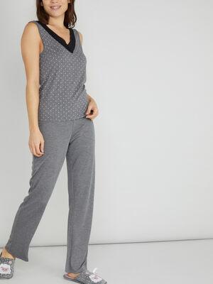 Bas de pyjama gris gris fonce femme
