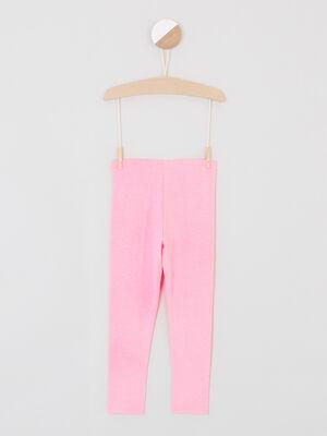 Legging uni avec taille elastiquee rose fluo fille