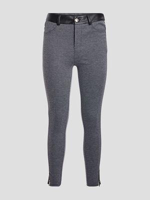 Pantalon slim details zippes gris femme