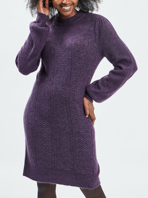 Robe pull droite violet fonce femme