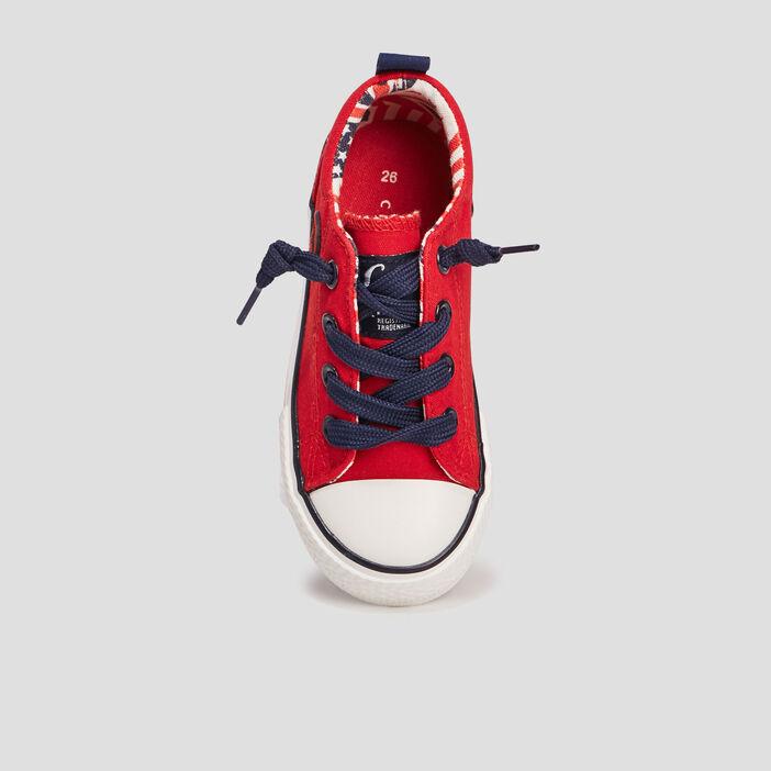 Baskets en toile garçon rouge