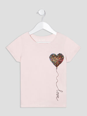 T shirt manches courtes rose fille