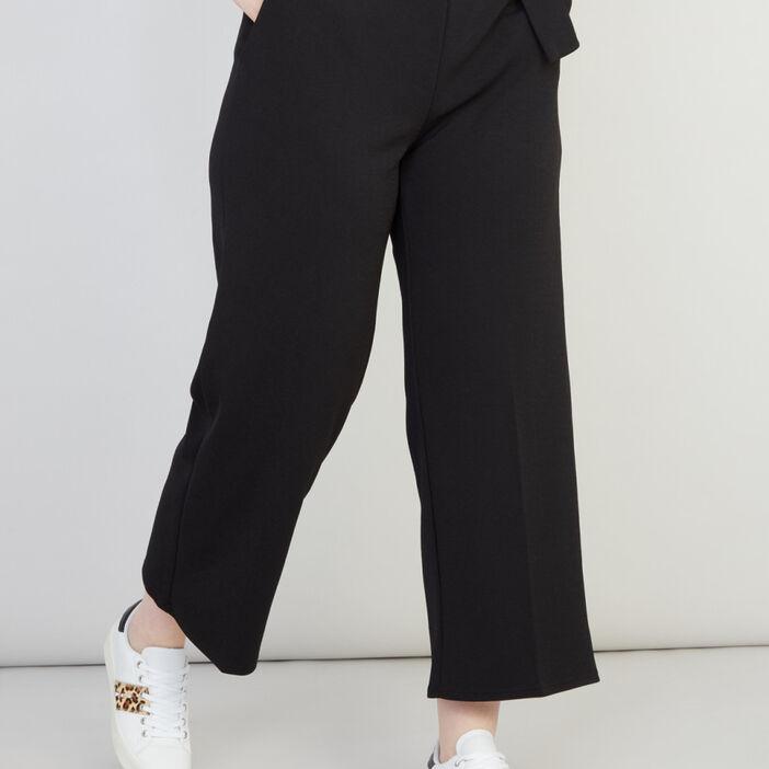 Pantalon large en jersey uni femme grande taille noir