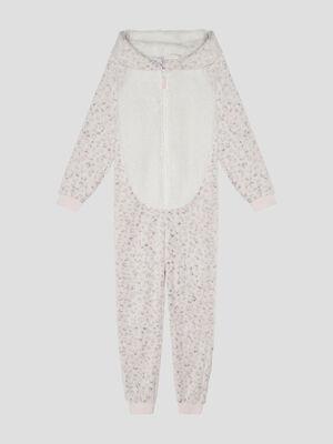 Combinaison pyjama a capuche gris fille