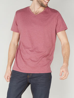 T shirt col V en coton rose homme