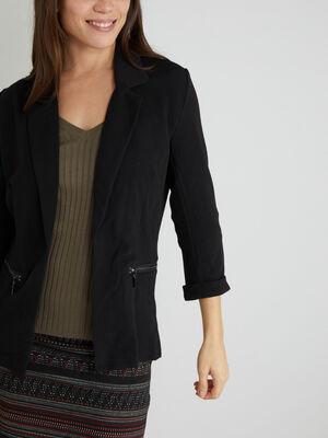 Veste unie a poches zippees noir femme