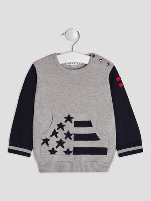 Pull avec col rond Creeks gris bebeg