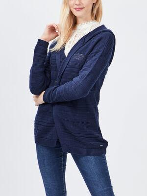 Gilet a capuche bleu marine femme