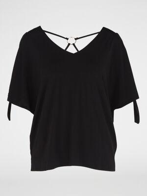 T shirt avec dos fantaisie noir femme