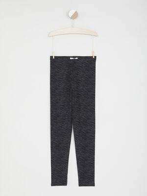 Legging imprime grands carreaux gris fonce fille