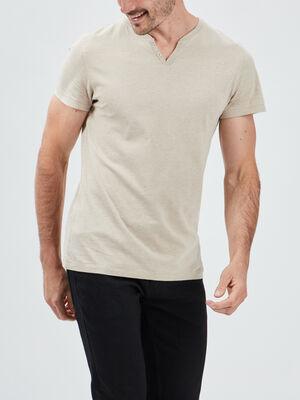 T shirt manches courtes beige homme