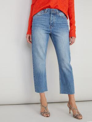 Jean droit coton taille haute denim stone femme