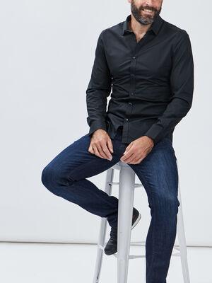 Chemise manches longues noir homme
