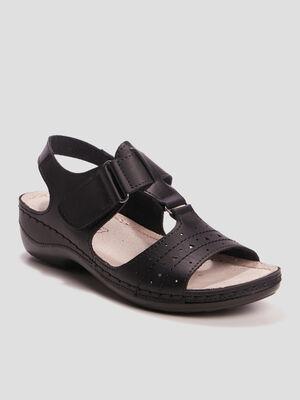 Sandales compensees perforees noir femme