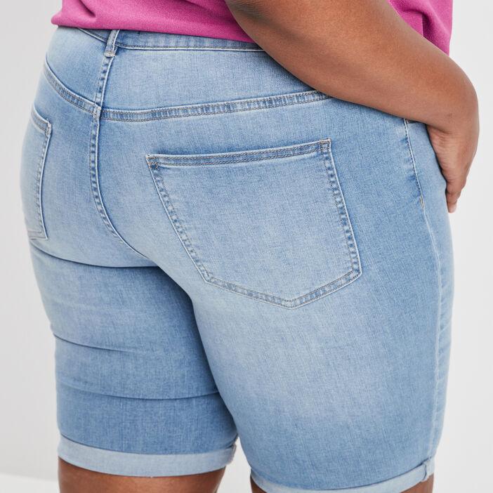 Bermuda straight en jean femme grande taille denim double stone