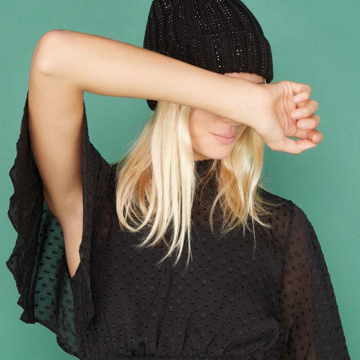Bonnet à pompon avec sequins mixte noir