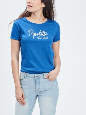 T shirt manches courtes bleu femme