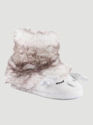 Chaussons boots duveteux cerf blanc femme