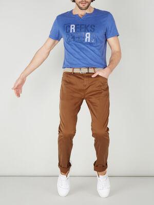 Pantalon droit avec ceinture camel homme