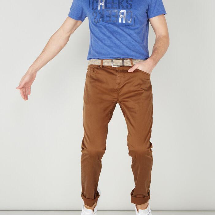Pantalon droit avec ceinture homme camel