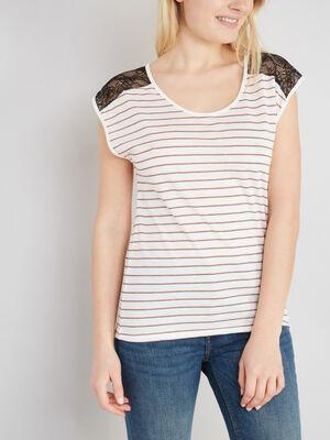 T shirt nuit imprime avec dentelle blanc femme