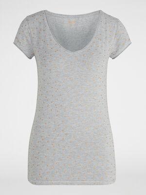 T shirt manches courtes imprime gris femme