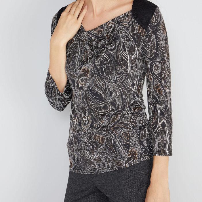 T-shirt col asymétrique avec dentelle femme noir