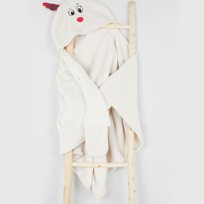 Plaid à manches renne de Noël femme beige