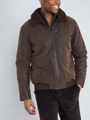 Blouson similicuir vieilli col sherpa marron homme
