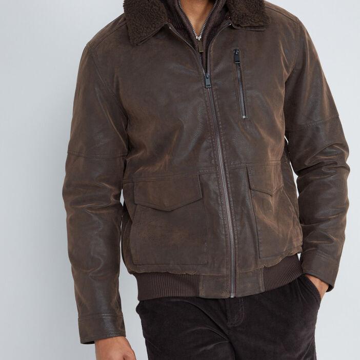 Blouson similicuir vieilli col sherpa homme marron
