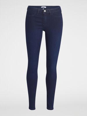 Jean skinny 5 poches uni denim blue black femme