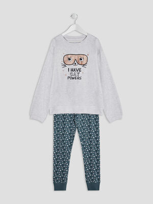 Ensemble pyjama 2 pieces ecru fille