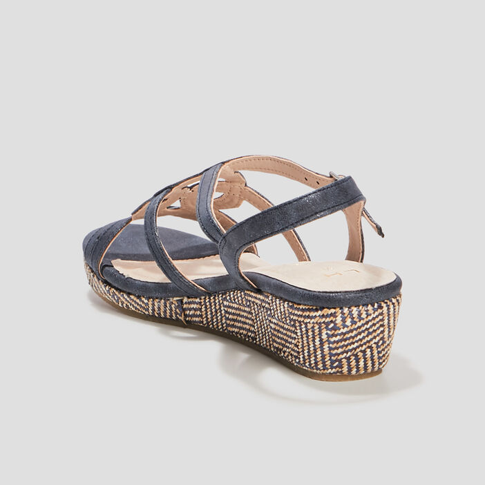 Sandales à talons tressés femme bleu