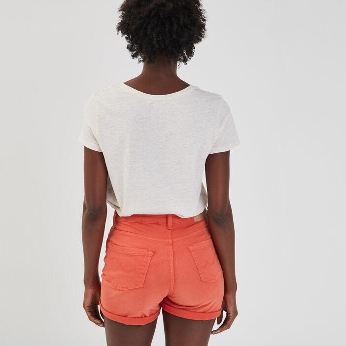 T-shirt manches courtes femme beige