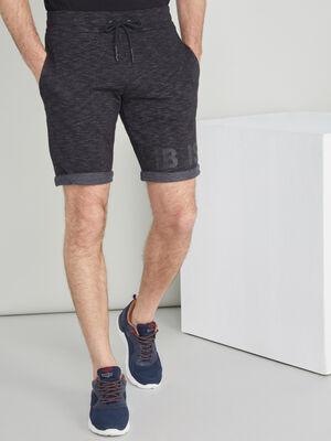 Bermuda chine en coton melange noir homme
