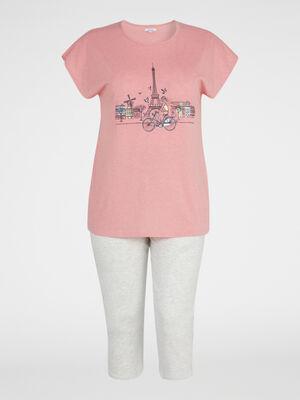 Pyjama a pois grande taille orange corail femme