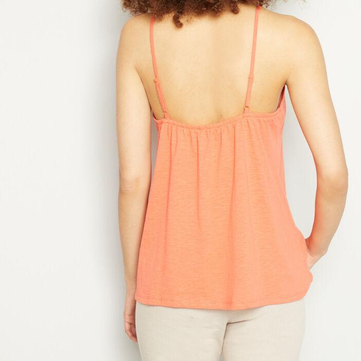 Débardeur uni détail macramé femme orange
