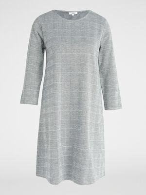 Robe droite Prince de Galles gris femme