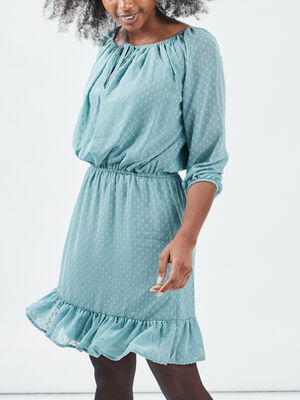 Robe droite taille elastiquee vert turquoise femme