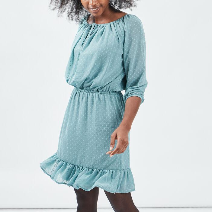 Robe droite taille élastiquée femme vert turquoise