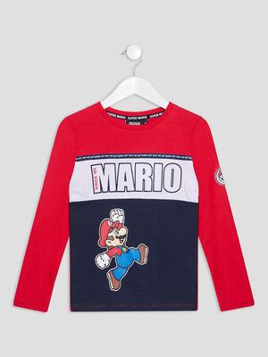 T shirt manches longues Mario multicolore garcon
