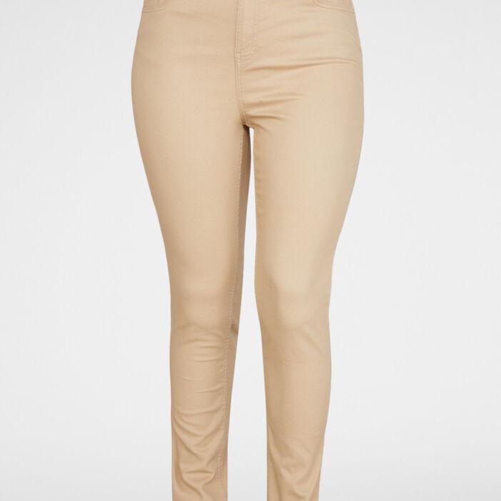 Pantalon slim 5 poches femme grande taille beige