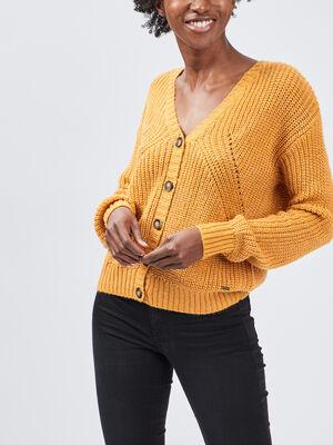 Gilet boutonne avec col en V jaune moutarde femme