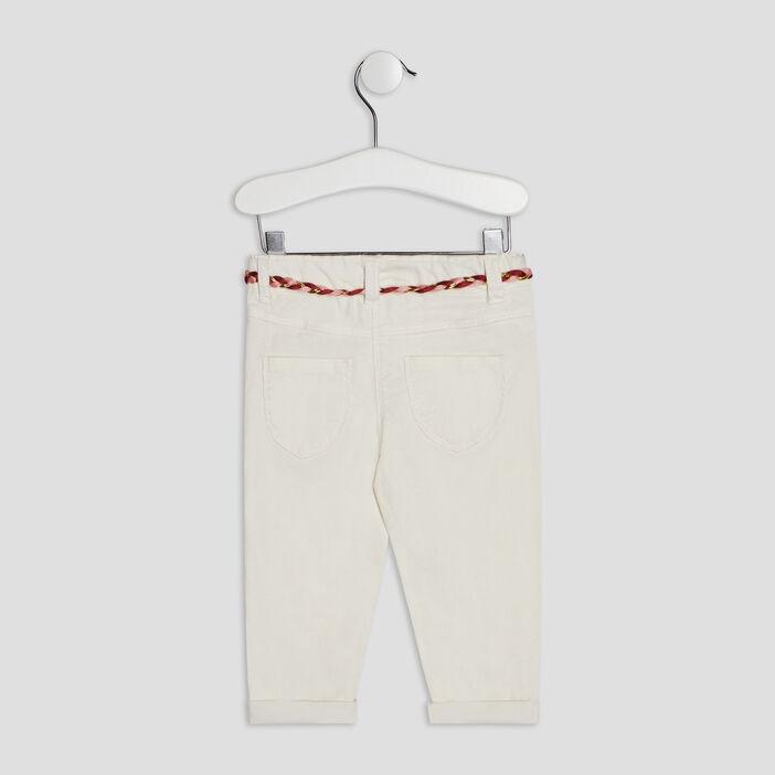Pantalon slim effet velours bébé fille ecru
