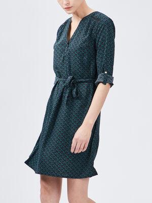 Robe evasee ceinturee vert femme