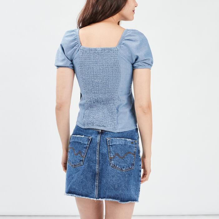 Chemise manches courtes femme bleu