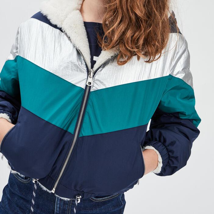 Veste droite à capuche fille bleu marine
