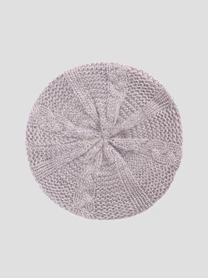 Beret tricote avec torsades gris mixte