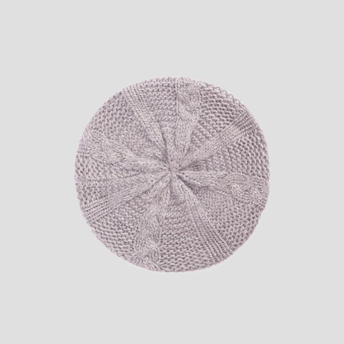 Béret tricoté avec torsades mixte gris